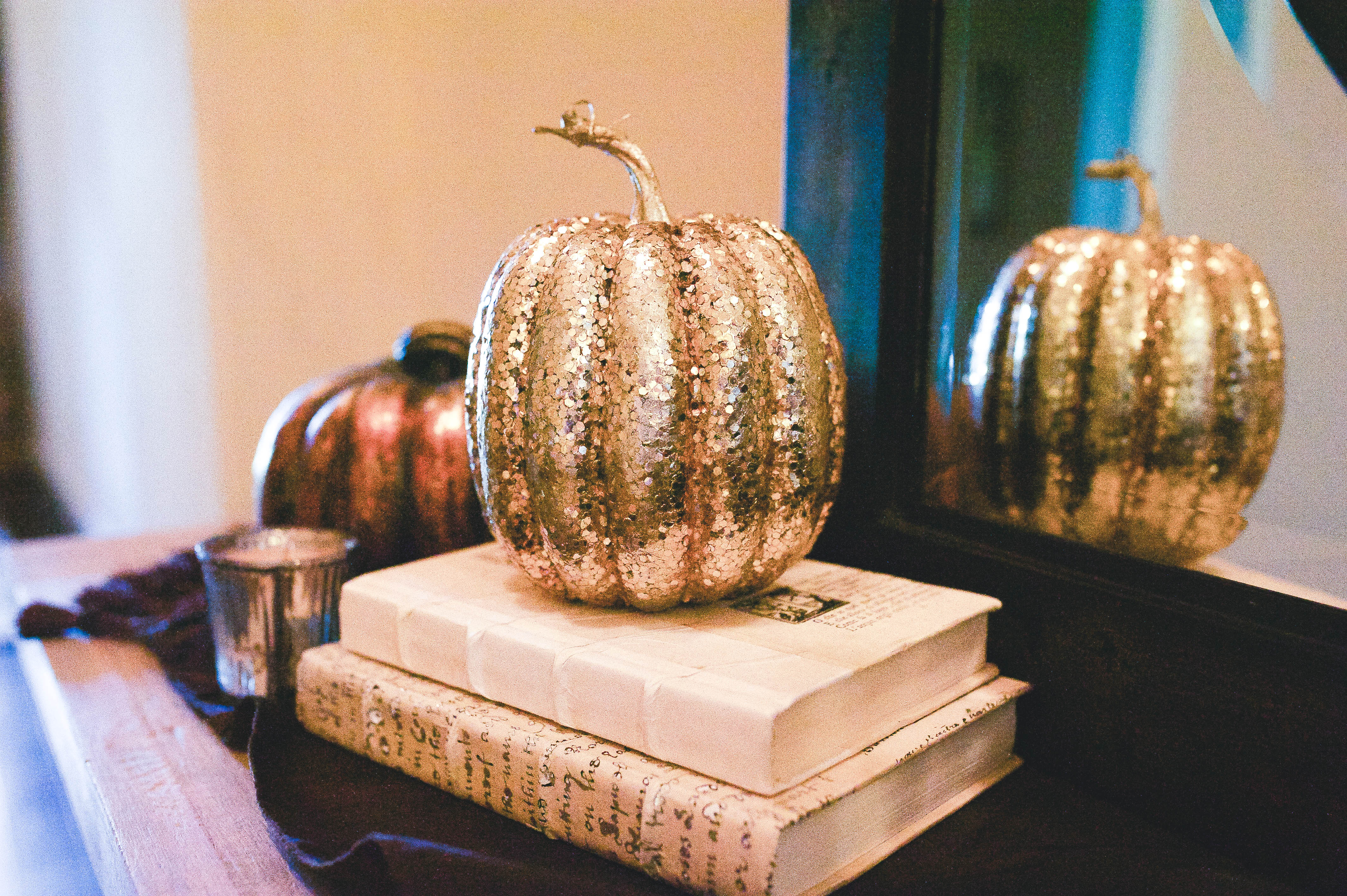 pumpkins on books