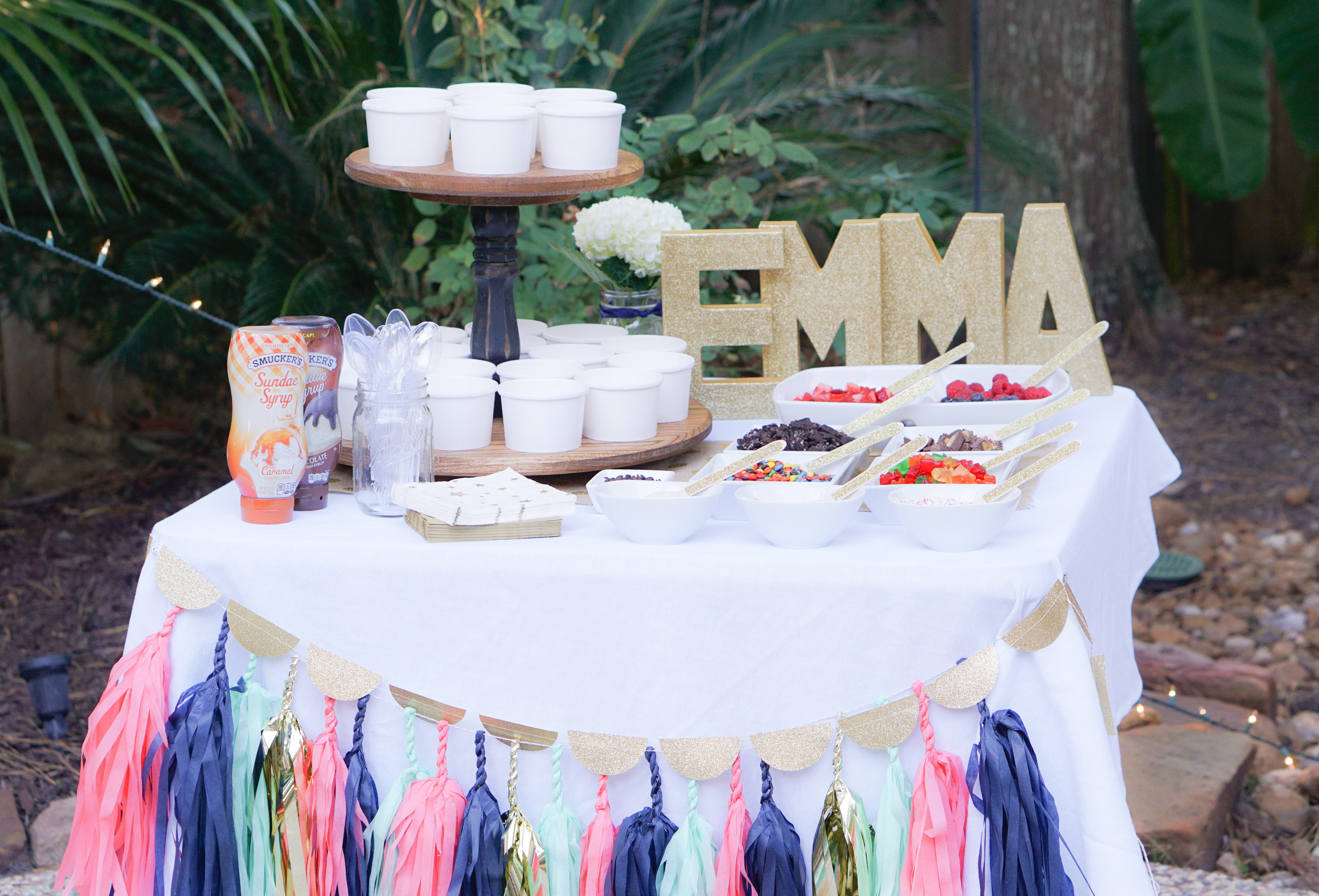 Outdoor Sweet 16 Party Ice Cream Bar Tissue Garland