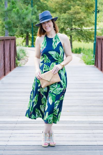 summer style midi dress ann taylor clutch straw hat
