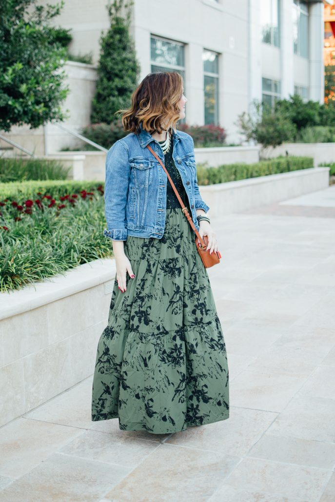 ONE DRESS TWO WAYS maxi dress denim jacket fall dress