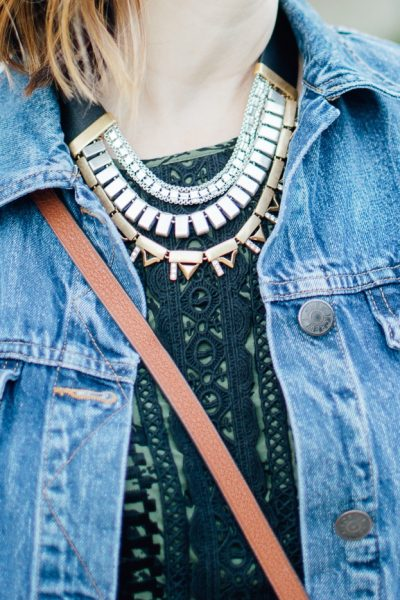 ONE DRESS TWO WAYS statement necklace crossbody anthropologie dress