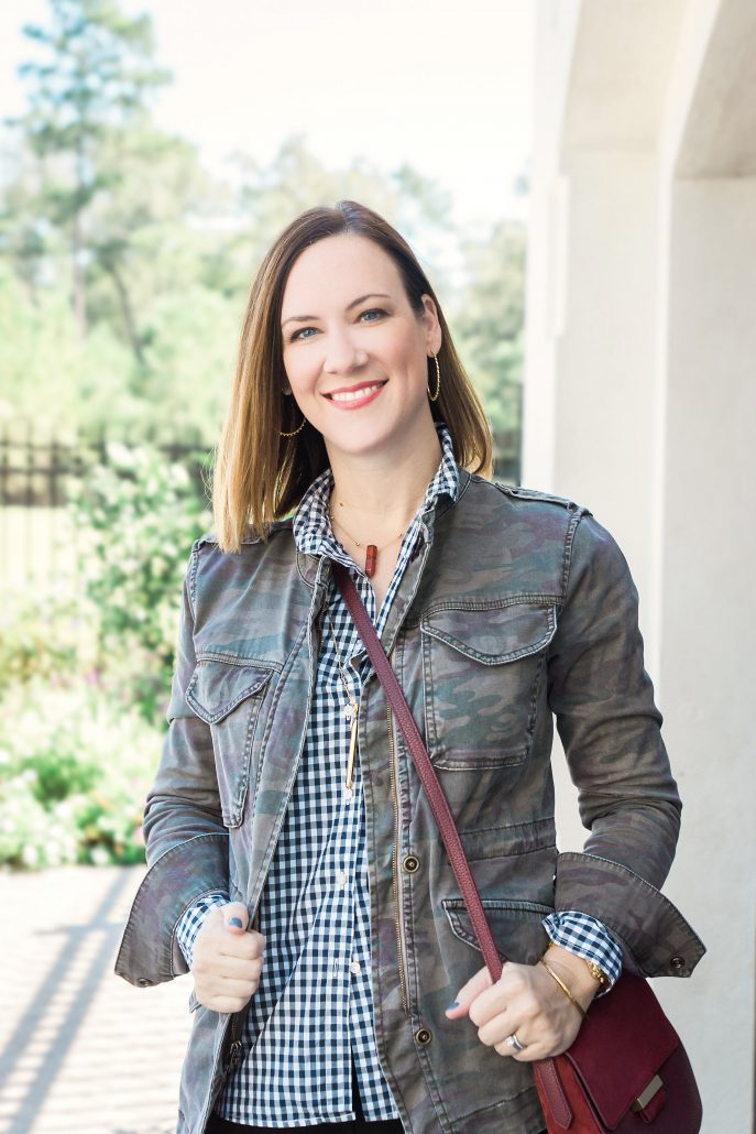 camo and gingham fall style fall outfit camp jacket fall layers
