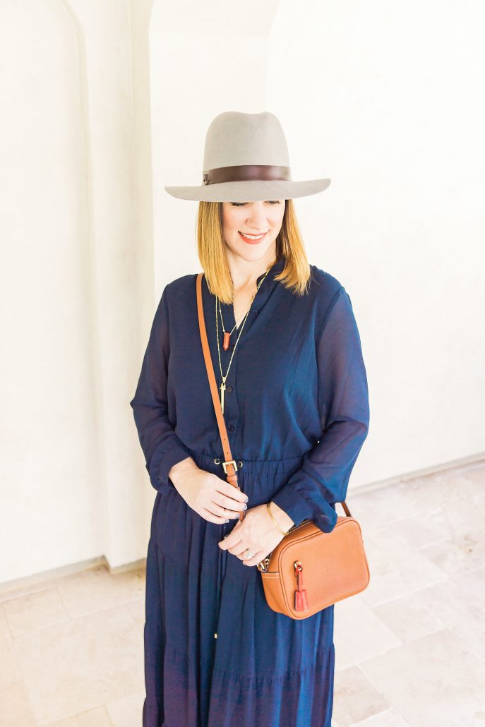fall maxi dress fall fashion hat blogger style accessories cross body michael kors